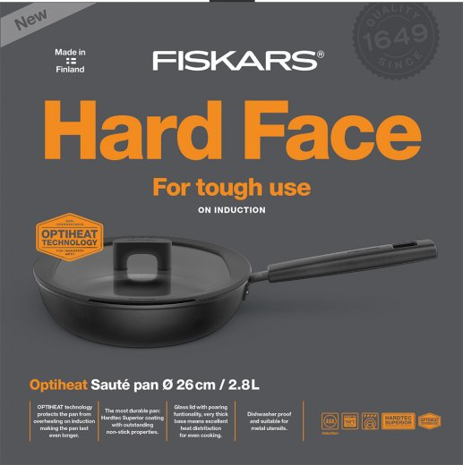 Fiskars Hard Face Optiheat Traktörpanna 26 cm med lock
